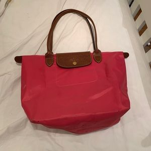Red/pink Longchamp Medium Le Pliage Top Handle Bag